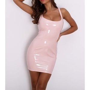Pink Sleeveless Faux Patent Leather Bodycon Dress